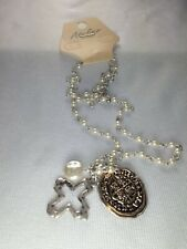 Silver Tone White Beaded Cross Pendant Necklace - New