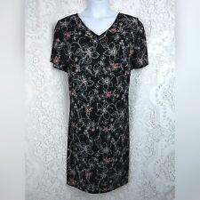 Fashion Bug womens dress plus size 22 short sleeve black white red floral v-neck