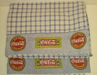 Vintage Coke Coca Cola Twin Bed Sheets 2 Flat blue check with logos on top as is
