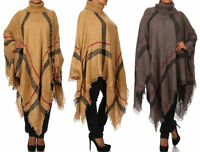 Plus Plaid Knit Turtleneck Fringe Poncho Sweater Tunic Top Outerwear