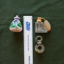 Lot 3 SmallVintage Perfume Bottles Perfume Atomizer Bottle Holm Spray Glass