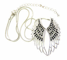 New Clear/Black Crystal Rhinestone Angel Wings Pendant Necklace