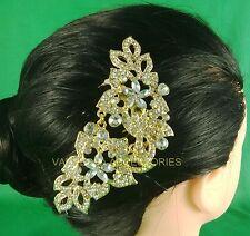 GOLD PLATE/SILVER DIAMANTE HAIR SLIDE/COMB PASSA (VA83GS) WEDDING/PARTY/PROM