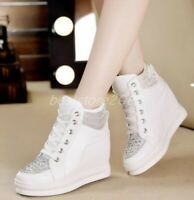 Women Lace UP Fashion Sneakers Hidden Wedge Heels Casual Charm Shoes Sport Pumps