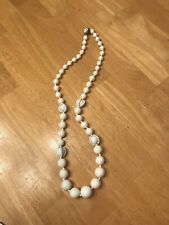 Miriam Haskell Signed White Beads Necklace With Rare Wired Beading On 4 Beads