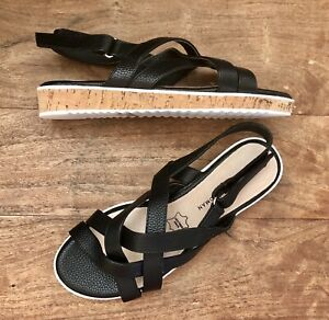 NWT - 8 1/2 - Ladies Sandals - Stylish Low Cork Wedge Soles - Black Faux Leather
