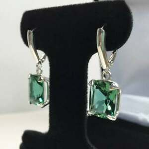 Natural Certified 925 Sterling Silver Handmade 6 Ct Emerald Antique Earrings