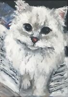 """Original Oil Painting Signed Cat Cats Kitten """"Book Interrupted"""""""