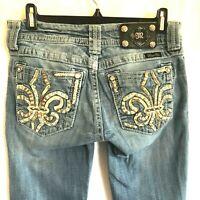 Miss Me Boot Cut Low Rise Jeans Size 27 Embroidered fleur-de-lis Womens  28 x 30