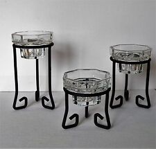 THREE PIECE CANDLE HOLDERS 8 SIDED CLEAR GLASS HOLDERS FROM FRANCE BLACK STEEL