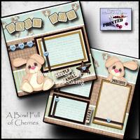 BABY BOY  ~  2 premade scrapbook pages paper piecing layout 12X12 album CHERRY