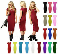 New ladies Womens Short Cap Sleeves Stretch Plain Bodycon Midi Maxi Dress 8-26