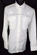 4 Police PC Security Officer Prison Pilot White Long Sleeve Shirt 15 half Collar