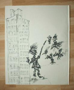 Ferenc Banga Handzeichnung Federzeichnung Tusche Original Ungarn