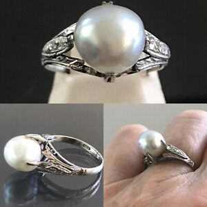 9 mm Pale Gray Cultured Akoya Baroque Pearl 14k White Gold Ring