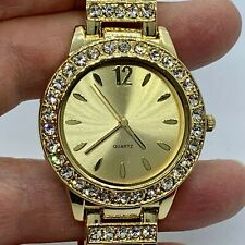 Colleen Lopez Gold Tone Stainless Steel Watch CZ Accents - New Battery