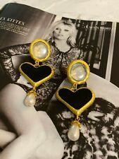 Heart Pearl Gem Drop Statement Earrings Latoir Instagram Blogger Black Gold Love