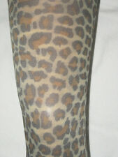 Leopard Print Opaque Footless Tights. 8-12 Full Length NEW brown natural punk