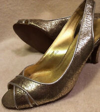 J. Crew New Women's 6 Shoes Gold Crackled Leather Open Toe Heels Italy