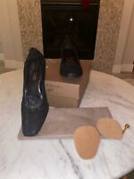 EUC DONALD J PLINER black square toe kitten distres met heels size 8.5 Med italy