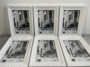Lot Of 6 - Kiera Grace White Raised Leaf Boarder Picture Frame For 4 x 6 Photo