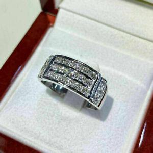 2.00Ct Round Cut D/VVS1 Diamond Men's Wedding Band Ring 14K White Gold Finish