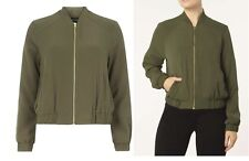 DOROTHY PERKINS KHAKI CREPE ZIP FRONT BOMBER JACKET SIZES 6-8-10-14