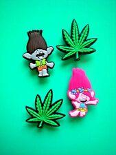Shoe Charm Button Compatible w/Croc Hole Fits Jibbitz Wristband Trolls Marijuana