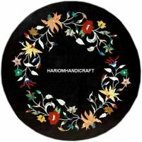"""12"""" Black Marble Coffee Table Top Floral Precious Stone Marquetry Inlay decor"""