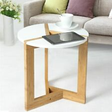 Side Table for Coffee Tea Snacks Round Wooden Side Table for Sofa Snack Time