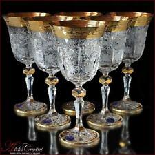 Bohemia Crystal Wine Glasses 20 cm, 220 ml, Caezar Gold 6 pc New!