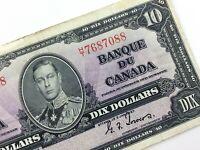 1937 Canada 10 Dollar Ten Dollar Circulated HT Prefix Coyne Towers Banknote S918