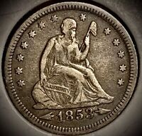 1853 seated liberty quarter Arrows Ans Rays