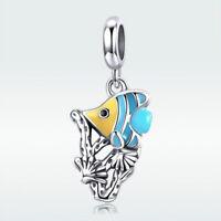 925 Sterling Silver Lovely Fish Pendant Animal Enamel Charm Bead Fit Bracelet