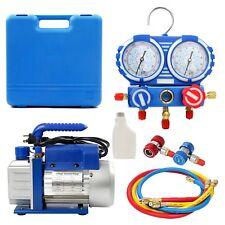 Combo 3,5CFM 1/4HP Air Vacuum Pump HVAC +R134A Kit AC A/C Manifold Gauge Set A