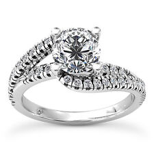 D/SI Enhanced Round Cut Diamond Engagement Ring 1 CT 14K White Gold Solitaire