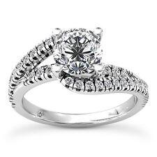 1 CT ROUND CUT DIAMOND ENGAGEMENT RING VS2 D 14K WHITE GOLD