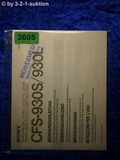 Sony Bedienungsanleitung CFS 930S /930L Cassette Corder (#3605)