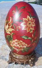 New Vintage Hand Painted Red, Green, Ivory Pottery Ceramic Egg On Stand-13""