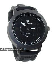 mens big matte black on black sports business watch designer 02 03 04 dial