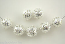 20 perles rondes filigrane filigree 10 mm argentées