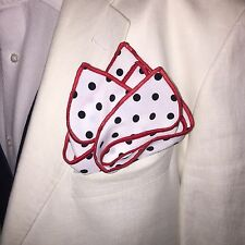 Pocket Square Handmade Polka Dot With Red Stitched Borders By Squaretrapny.com