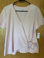 NWT Old Navy Wrap Top Women's Size Medium Light Pink Short Sleeve Sweater Knit