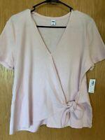 NWT Old Navy Wrap Top Women's Size Medium Light Pink Short Sleeve Sweater Knit