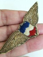 Vintage Blue White Red Shield Gold Thread Wings Patch Patriotic Unknown Country