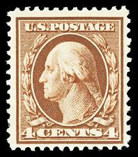 Scott 334 1908 4c Orange Brown Washington Perf 12 Issue Mint F-VF OG LH Cat $35