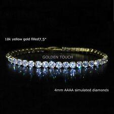 Yellow gold filled AAAA simulated diamond tennis bracelet,  GIFT /UK