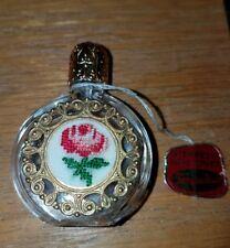 Vintage Tompadour Viennese Handicraft Perfume Bottle Austria Embroidered Unused