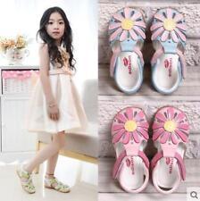 Kids Girls Summer Flowers Close Toe T-strap Sandals Princess Flats Beach Shoes