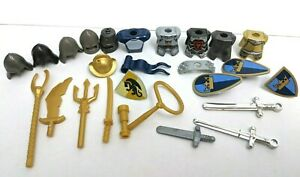 LEGO Castle Accessory Red Dragon Blue Gold Crown Breast Plate Shield Weapon LOT